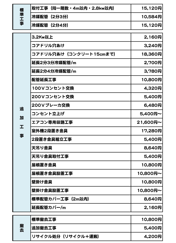 エアコン工事価格表 Sheet1